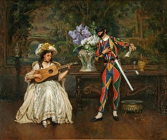 19th century painting, Masked Male Harlequin with female Musician