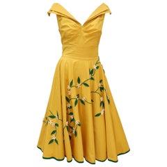 Juli Lynne Charlot Circle Skirt Dress With Felt Flowers, C.1950