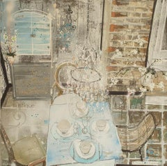 A Touch of France, a blue and silver interior space, Julia Adams, Still Life Art