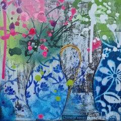 Julia Adams, Chinese Vases 2, Original Mixed Media Still Life Art