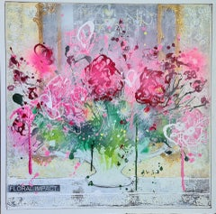Julia Adams, Floral Impact, Original Still Life Painting, Contemporary Art