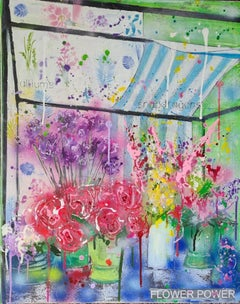 Julia Adams, Flower Market, Mixed Media Art, Contemporary Floral Art