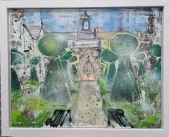 Julia Adams,  The Cloister Garden, Original Architectural Painting, Art Online