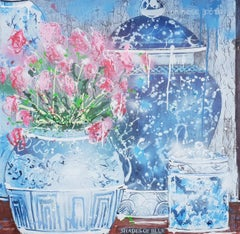 Shades of Blue and a vase of red flowers, still life painting