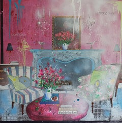 Vivid Mix, interior of a room , original painting , pink , blue , yellow colours