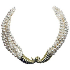 Julia Boss Multistrand Pearl Necklace with 18KYG Cornucopia Clasp with Diamonds