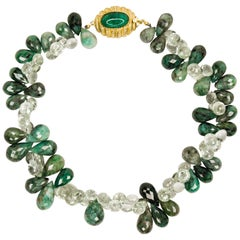 Julia Boss Raw Emerald Green Amethyst and Colombian Cabochon Emerald Necklace