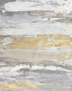 """Malibu Gold No. 1"", Contemporary Abstract Minimalist Mixed-Media Painting"