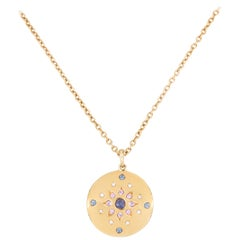 Julia-Didon Cayre 18 Karat Long Yellow Gold Diamond Necklace with Sapphires