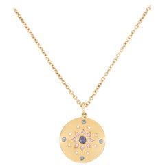 Julia-Didon Cayre 18 Karat Long Yellow Gold Diamond Necklace with Sapphires