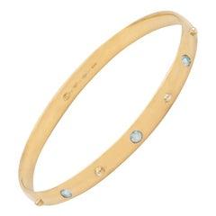 Julia-Didon Cayre 18 Karat Yellow Gold Bangle Stacking Aquamarine Bracelet