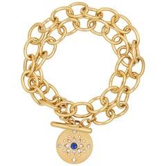 Julia-Didon Cayre 18 Karat Yellow Gold Blue Sapphire and Diamond Chain Bracelet