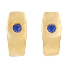 Julia-Didon Cayre 18 Karat Yellow Gold Blue Sapphire Earrings