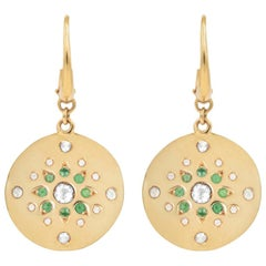 Julia-Didon Cayre 18 Karat Yellow Gold Diamond and Emerald Earrings