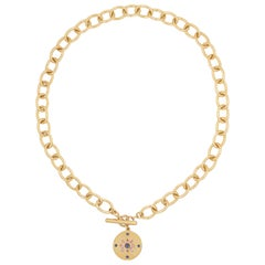 Julia-Didon Cayre 18 Karat Yellow Gold Diamond and Sapphire Choker Necklace