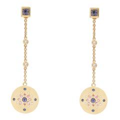 Julia-Didon Cayre 18 Karat Yellow Gold Diamond and Sapphire Long Dangle Earrings