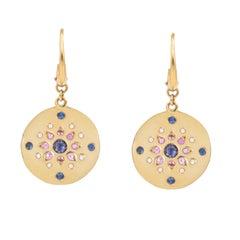 Julia-Didon Cayre 18 Karat Yellow Gold Diamond and Sapphire Drop Earrings