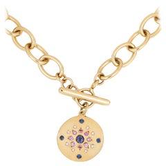 Julia-Didon Cayre 18 Karat Yellow Gold Diamond and Sapphire Large Chain Necklace