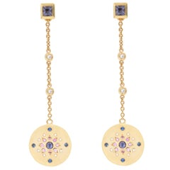 Julia-Didon Cayre 18 Karat Yellow Gold Diamond and Sapphire Long Dangle Earrings