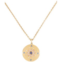 Julia-Didon Cayre 18 Karat Yellow Gold Diamond and Sapphire Necklace Long Chain