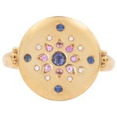 Julia-Didon Cayre 18 Karat Gelb Gold Diamant und Saphir Siegelring