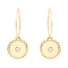 Julia-Didon Cayre 18 Karat Yellow Gold Diamond Earrings with Round Charm