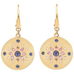 Julia-Didon Cayre 18 Karat Yellow Gold Diamond Earrings with Sapphires