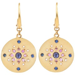 Julia-Didon Cayre 18 Karat Yellow Gold Diamond Earrings with Sapphires