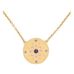 Julia-Didon Cayre 18 Karat Yellow Gold Diamond Necklace with Sapphires