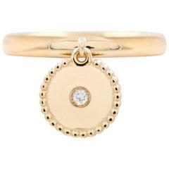 Julia-Didon Cayre 18 Karat Yellow Gold Diamond Ring with Round Gold Charm