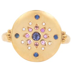 Julia-Didon Cayre 18 Karat Yellow Gold Diamond Ring with Sapphires