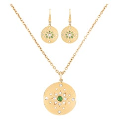 Julia-Didon Cayre 18 Karat Yellow Gold Emerald and Diamond Necklace Earring Set