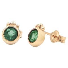 Julia-Didon Cayre 18 Karat Yellow Gold Emerald Earrings