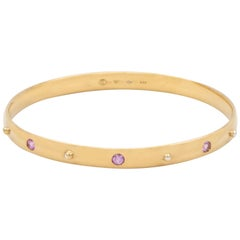 Julia-Didon Cayre 18 Karat Yellow Gold Bangle Stacking Pink Sapphire Bracelet