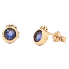 Julia-Didon Cayre 18 Karat Yellow Gold Purple Iolite Stud Earrings
