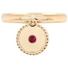 Julia-Didon Cayre 18 Karat Yellow Gold Ruby Ring with Round Gold Charm