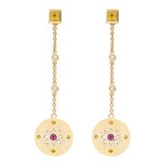 Julia-Didon Cayre 18 Karat Yellow Gold Sapphire, Citrine and Diamond Earrings