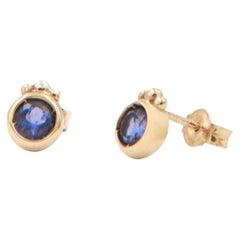 Julia-Didon Cayre 18 Karat Yellow Gold Stud Purple Iolite Earrings
