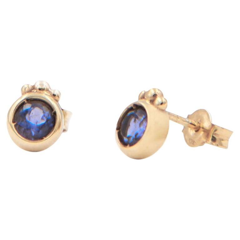 Julia-Didon Cayre 18 Karat Yellow Gold Stud Purple Iolite Earrings For Sale