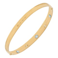 Julia-Didon Cayre Bangle Stacking Aquamarine Bracelet in 18 Karat Yellow Gold