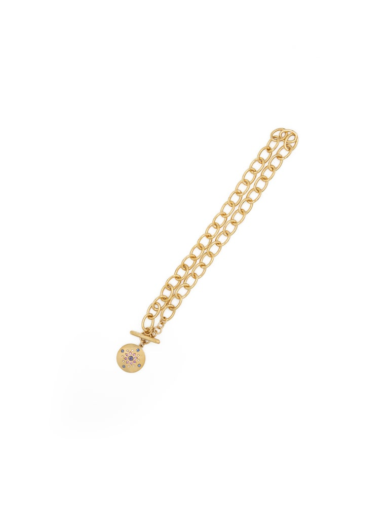 Contemporary Julia-Didon Cayre Blue Sapphire and Diamond Bracelet in 18 Karat Yellow Gold For Sale