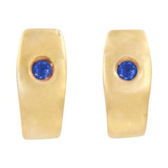 Julia-Didon Cayre Blue Sapphire Earrings in 18 Karat Yellow Gold