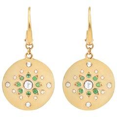 Julia-Didon Cayre Diamond and Emerald Earrings in 18 Karat Yellow Gold