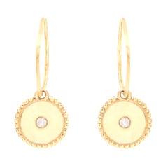 Julia-Didon Cayre Diamond Earrings in 18 Karat Yellow Gold with Charm