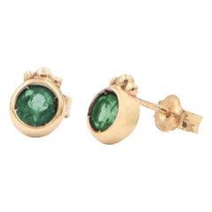Julia-Didon Cayre Emerald Stud Earrings in 18 Karat Yellow Gold