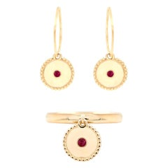Julia-Didon Cayre Ruby Earrings and Ring Suite in 18 Karat Yellow Gold