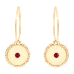 Julia-Didon Cayre Ruby Earrings with Round Charm in 18 Karat Yellow Gold