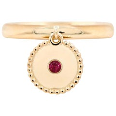 Julia-Didon Cayre Ruby Ring with Round Charm in 18 Karat Yellow Gold
