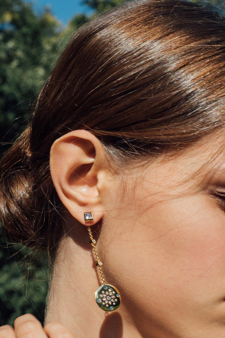 Round Cut Julia-Didon Cayre Sapphire, Citrine and Diamond Earrings in 18 Karat Yellow Gold For Sale