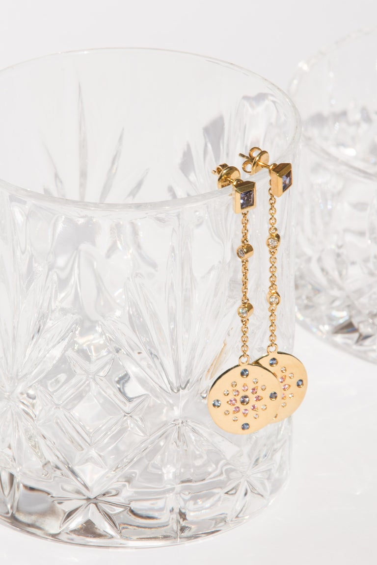 Julia-Didon Cayre Sapphire, Citrine and Diamond Earrings in 18 Karat Yellow Gold In New Condition For Sale In Milan, Milan